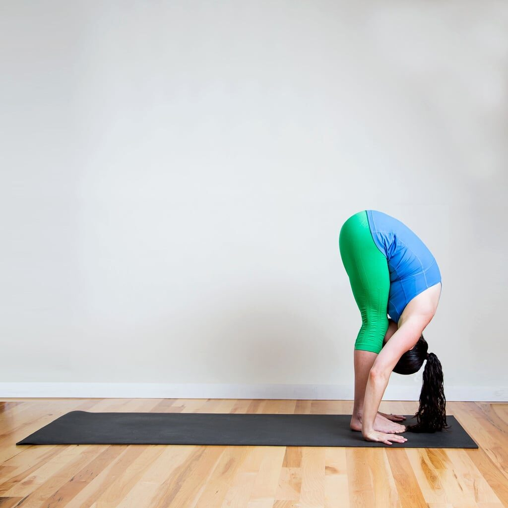 Standing Forward Fold (Uttanasana) pose inspires gratitude.